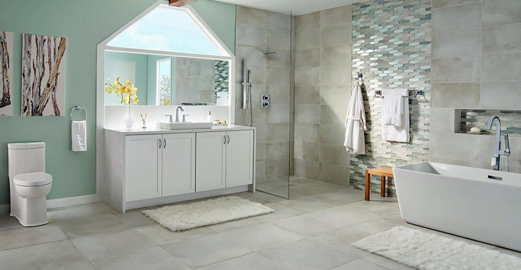 Popular transitional styling is depicted here with the American Standard 6-inch square shower head and luxurious Times Square shower system and convenient hand shower.