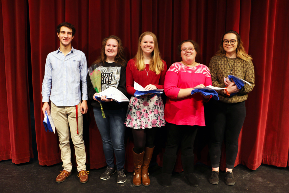 Messalonskee High School has announced its December Students of the Month, as well as its Mid-Maine Technical Center Students of the Month. From left are Noah Milne, Kiiasha Pluard, Julia Cooke, Breanna Corbin and Alexis Reed.