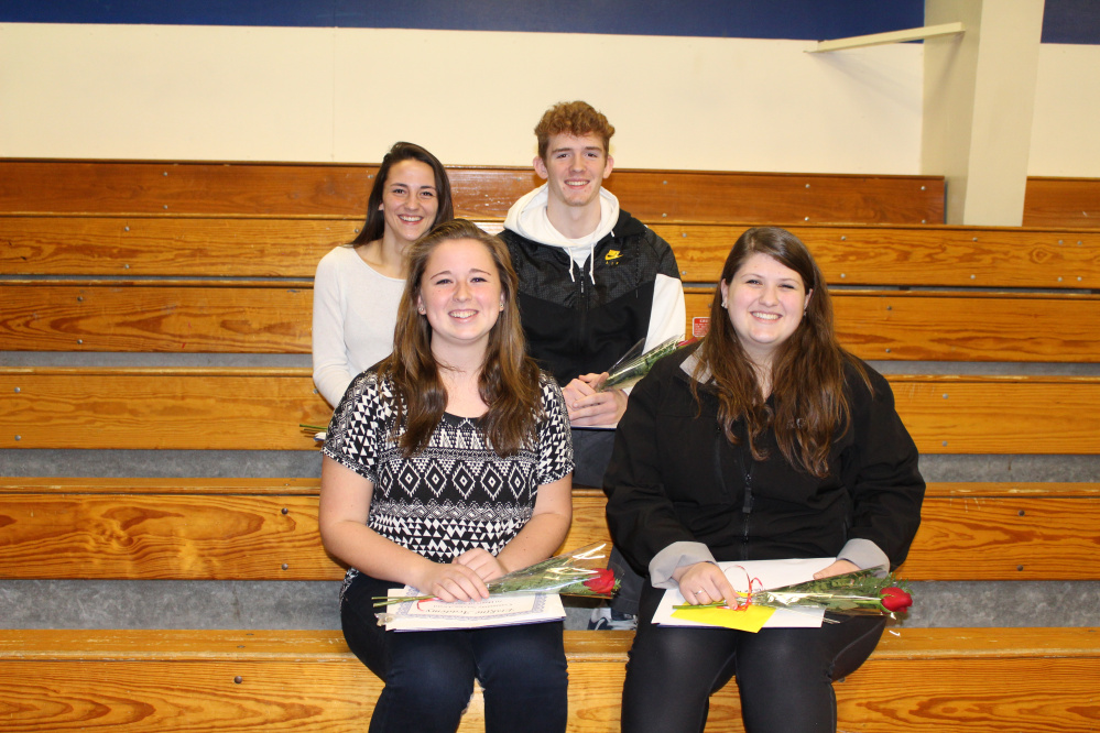 Erskine Academy held its Renaissance Assembly on Dec. 16 to honor their peers with Renaissance Awards. Senior of the Trimester recipients, front, from left, are Hannah Burns and Katie Keller. Back, from left, are Faith Krause and Nathaniel Harrington-Howard.