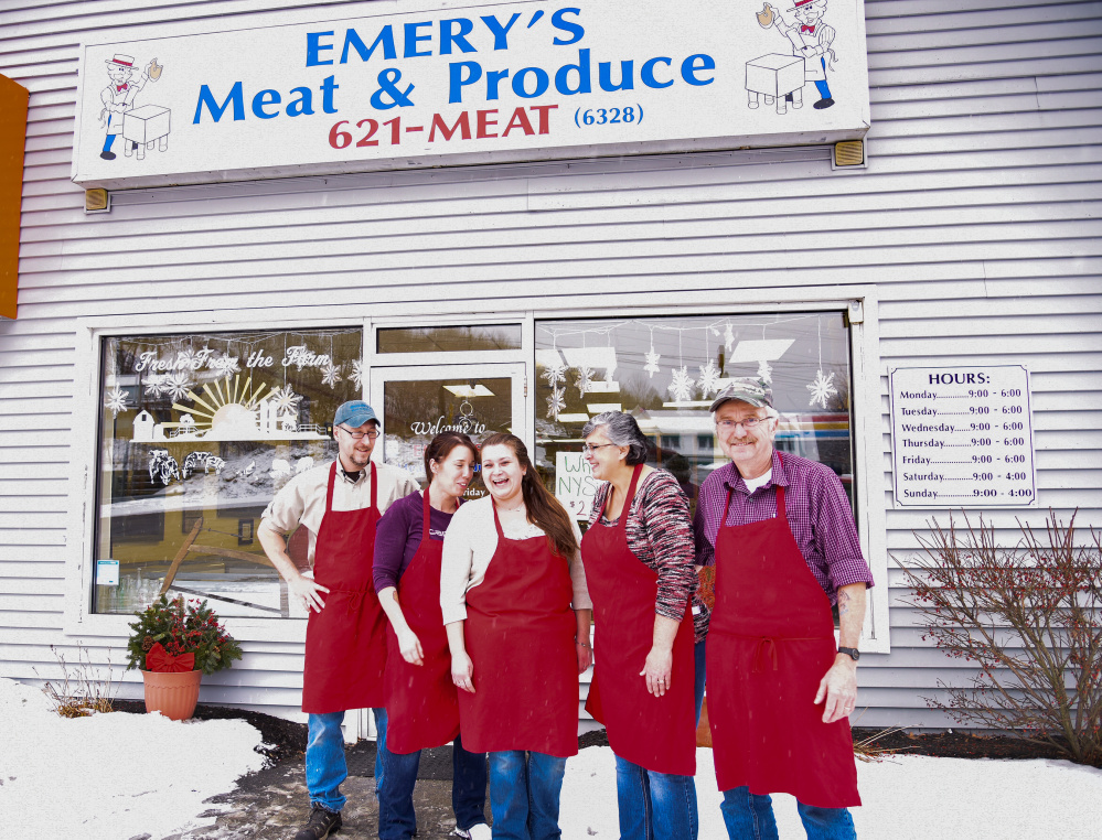 Emery's Meat & Produce, with locations in Gardiner and Newport, will be honored in January by the Kennebec Valley Chamber of Commerce as its Small Business of the Year. Shown here is the staff, left to right, Scott Goodin, Jessica Emery Peavey, Sierra Stevens, Denise Emery and founder Leon Emery.
