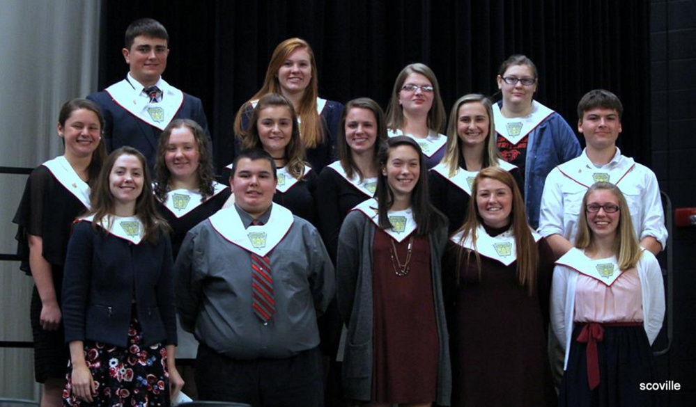Cony High School's National Honor Society inducted 16 new members to its chapter on Dec. 11 during an induction ceremony in Augusta. New and returning members include, front, from left, Emma Whitney, Brandon Gosselin, Olivia Varney, Cari Hopkins and Tara Jorgensen; middle, from left, Haley Gagne, Abigail Lenko, Julia Nicol, Alycia Lyon, Allee Cloutier and Hayden Ouellette; and back, from left, Kolton Vining, Lauren Coniff, Helaina McCollett and Mackenzie Stephenson. Inductee Hannah Harris was absent.