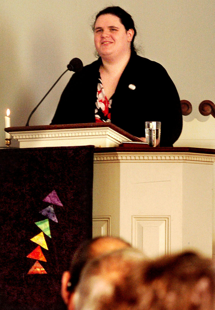 Quinn Gormley who is a transgender woman and president of the Maine Transgender Network, speaks about the topic Sunday at the Unitarian Universalist Church in Waterville.