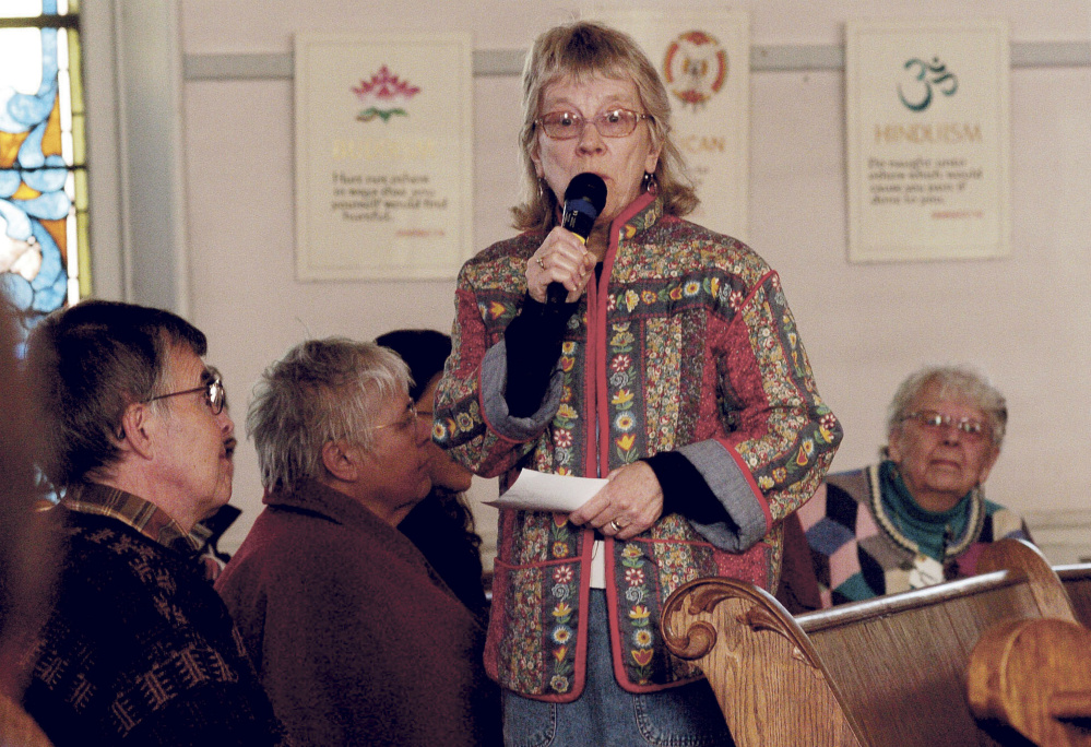 Linda Woods comments Sunday during a service at the Unitarian Universalist Church in Waterville, where guest speaker Quinn Gormley, president of the Maine Transgender Network, spoke on transgender issues.