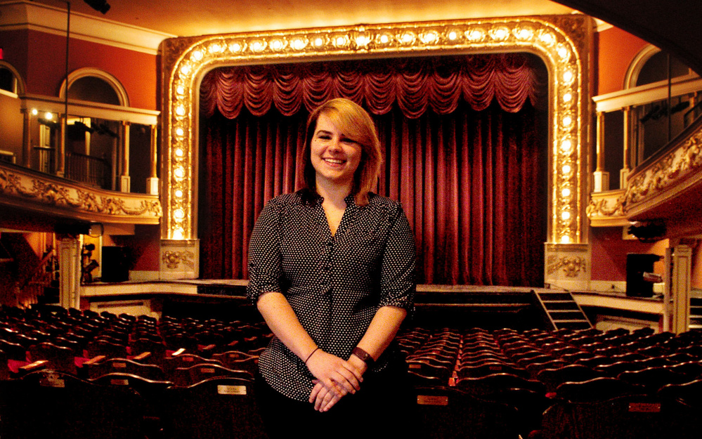 Tamsen Brooke Warner, the new executive director of the Waterville Opera House, is seen Monday at the opera house's 802-seat theater.