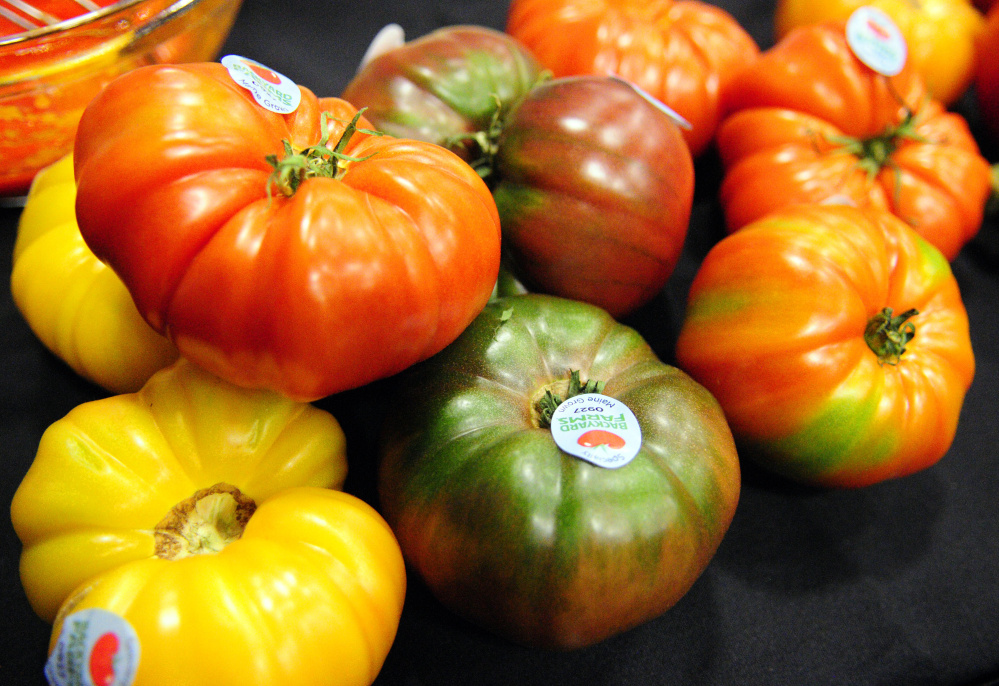 Tomatoes used in a cooking demonstration with Backyard Farms tomatoes during the 2017 Maine Agricultural Trades Show at the Augusta Civic Center.