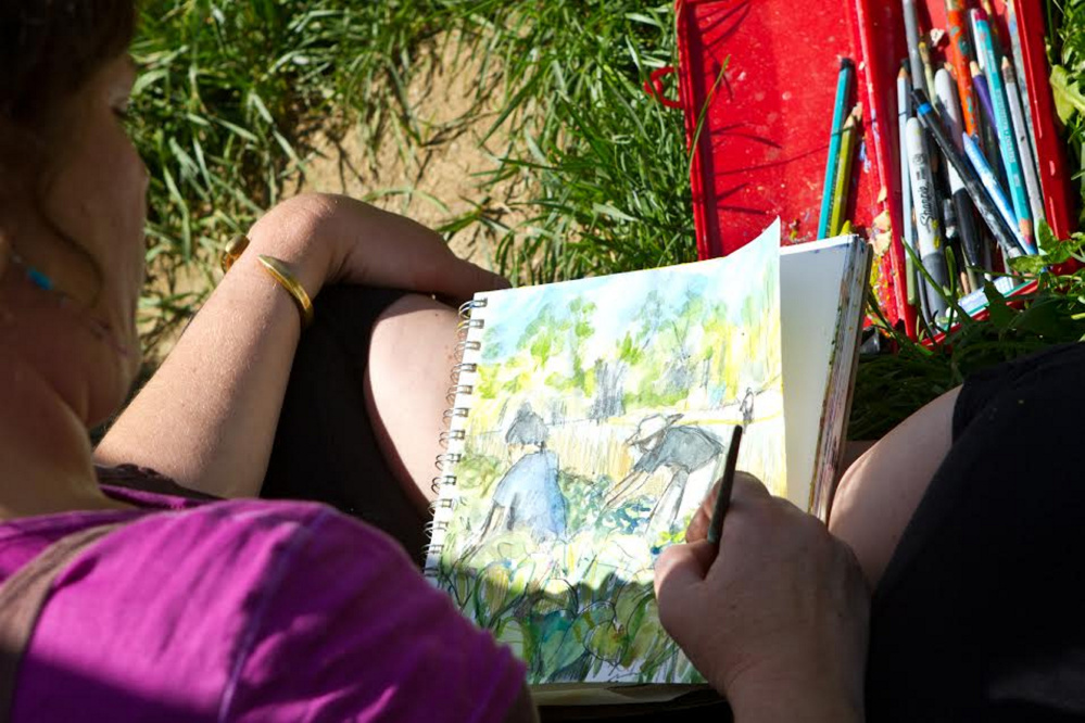 Artist Kate Barnes sketching at Grassland Organic Farm, during the first CSA project in 2012.