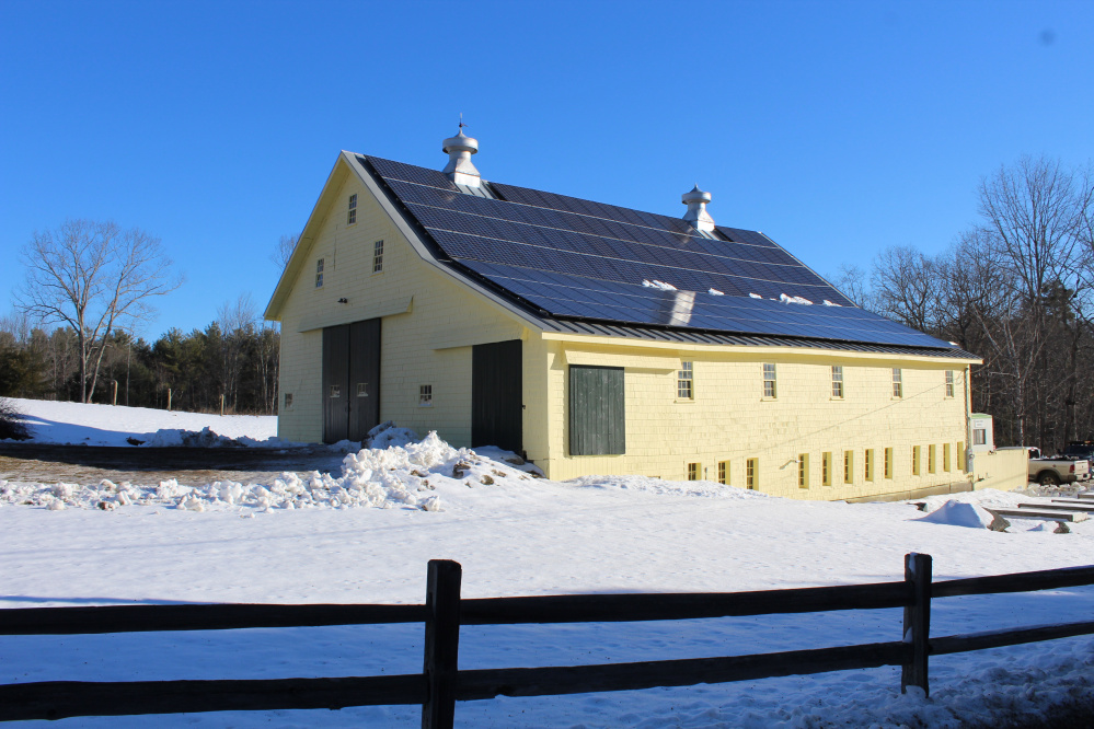 A 36.4-kilowatt grid-tied solar electric array is on the roof of the Wavus Barn at the Wavus Camp for Girls on Damariscotta Lake in Jefferson.