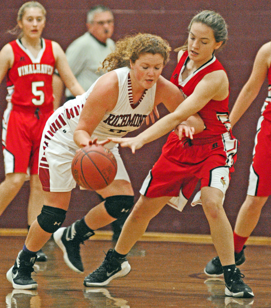 Richmond's Cassidy Harriman, left, tries to get past Vinalhaven defender Deja Doughty during a game Friday at Richmond High School.