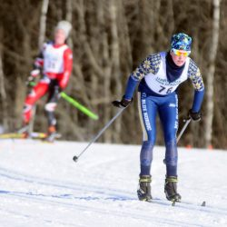 Mt. Blue's Mick Gurney skis around a field during the Hornet Classic on Saturday at Leavitt High School in Turner.