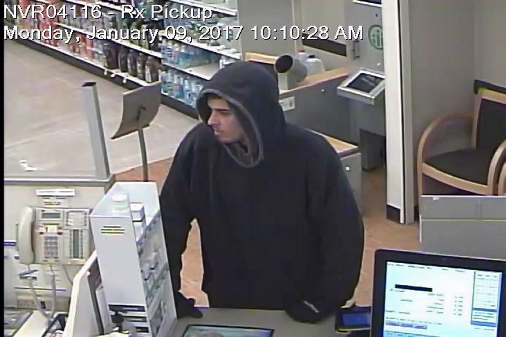 A Rite Aid surveillance photo shows the man police believe robbed the Skowhegan pharmacy Monday morning. Authorities last week identified the suspect as Damien Towers and have issued a warrant for his arrest.