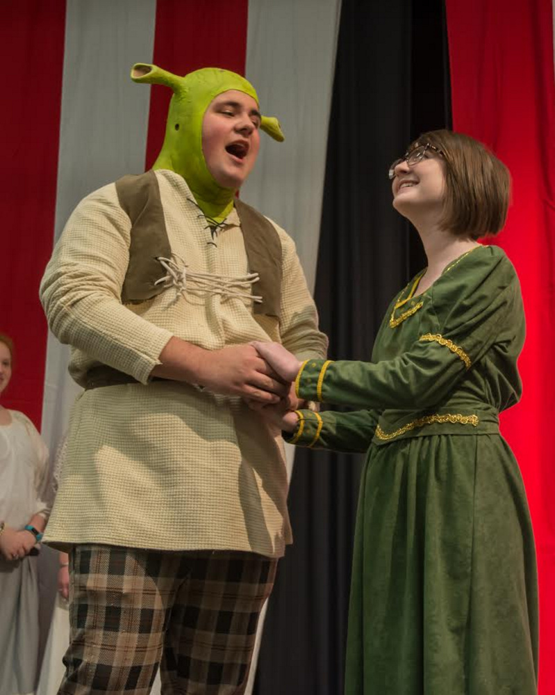 Noah LeClair, left, as Shrek, Michaela Gervais as Princess Fiona.