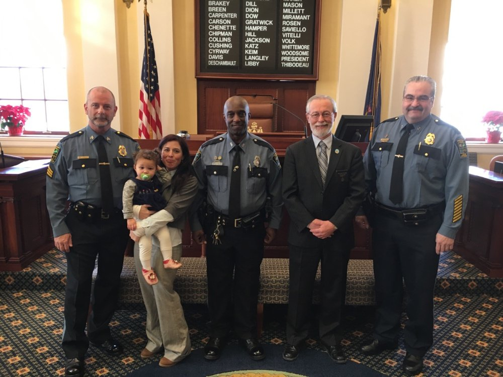 From left, are Sgt. Joel Cummings, Alayna Williams, Kate Mantor, Officer Tim Williams, Sen. Rodney Whittemore and Chief Don Bolduc.