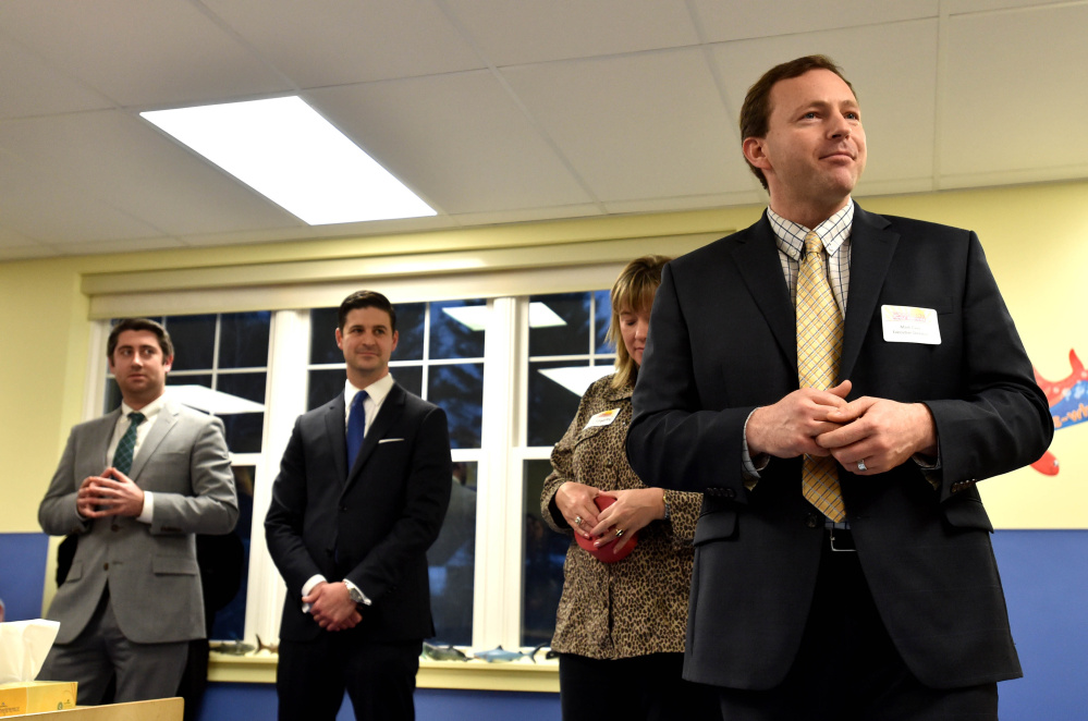 Mark Eves, executive director Woodfords Family Services, speaks on Thursday during the grand opening of a Woodfords Family Services preschool in Waterville.