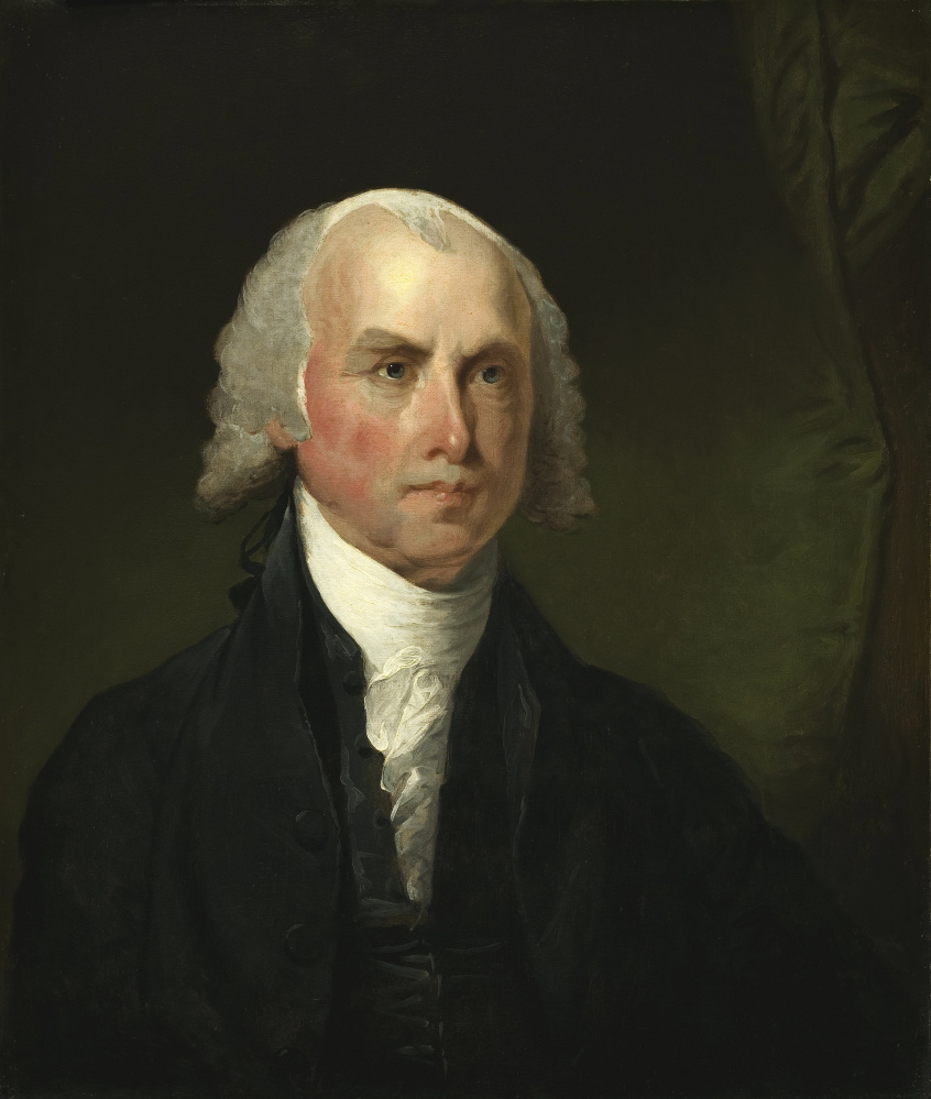 Gilbert Stuart (American, 1755 - 1828 ), James Madison, c. 1821, oil on wood, Ailsa Mellon Bruce Fund