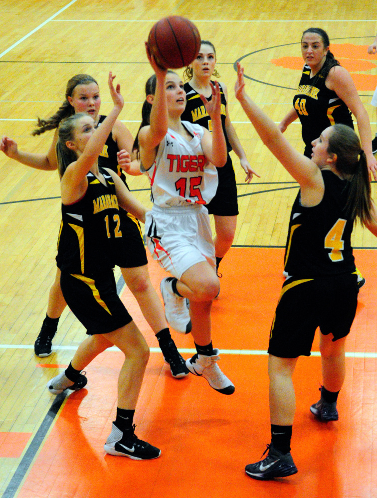 Gardiner's Katie Owen shoots against Maranacook in a Kennebec Valley Athletic Conference game Friday in Gardiner.