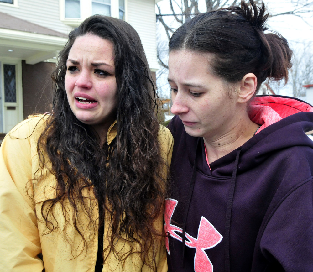 Nicole Fournier, left, the mother of a child with defendant Damien Towers, and Towers' sister Shawna Towers, said they were overjoyed that Damien Towers was released on personal recognizance during a hearing Monday at Skowhegan District Court on charges related to the robbery at the Skowhegan Rite Aid pharmacy.