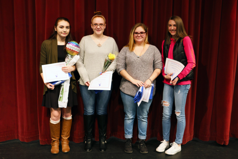 Contributed photo Messalonskee High School January Students of the Month, from left, are Gracie Vicente, Ashlynn Carleton, Zoe Penttila and Addison Littlefield.