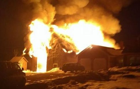 A barn is engulfed in flames Monday night in Cornville in a photo taken by Skowhegan Fire Chief Shawn Howard.