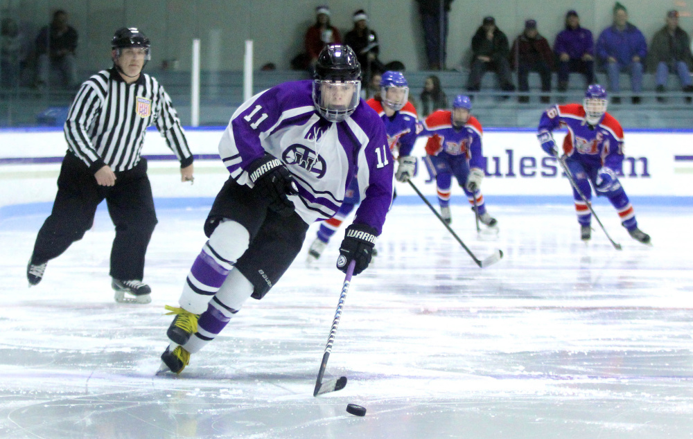 Waterville forward Jackson Aldrich breaks away for a scoring opportunity during a game against Messalonskee High School earlier this season.