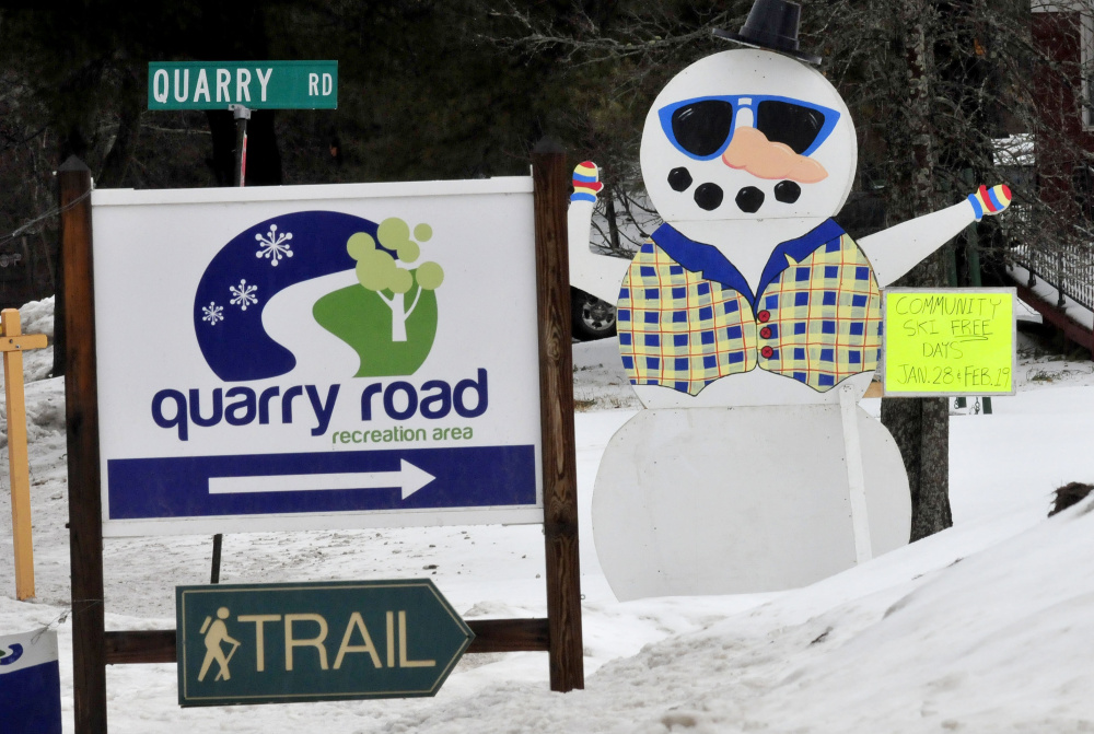 Signs promote the Quarry Road Community Ski and Winter Fun Day, which will be held Saturday at the Quarry Road Recreation Area in Waterville. The free events will be at the city-owned land, which is accessible off Quarry Road, from North Street.