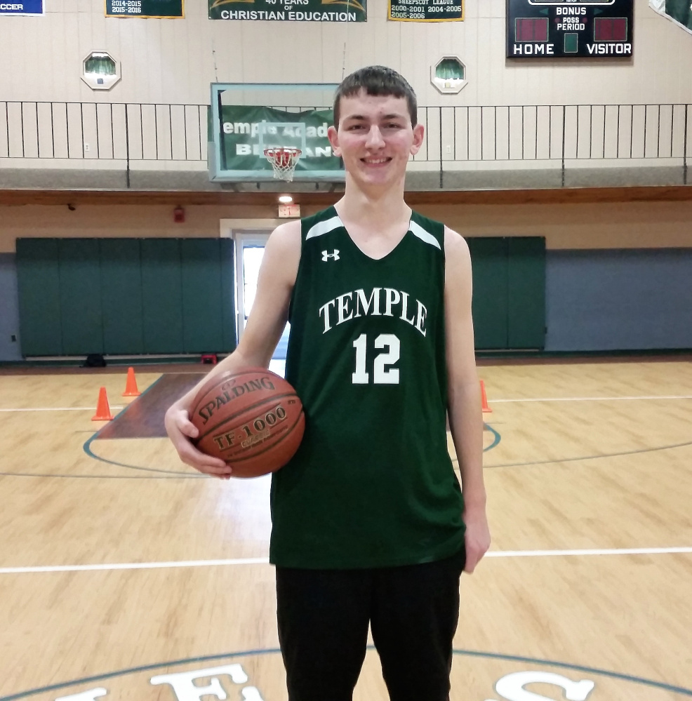 Brad Smith, a senior forward on the Temple Academy boys basketball team, recently scored his 1,000th point of his career.