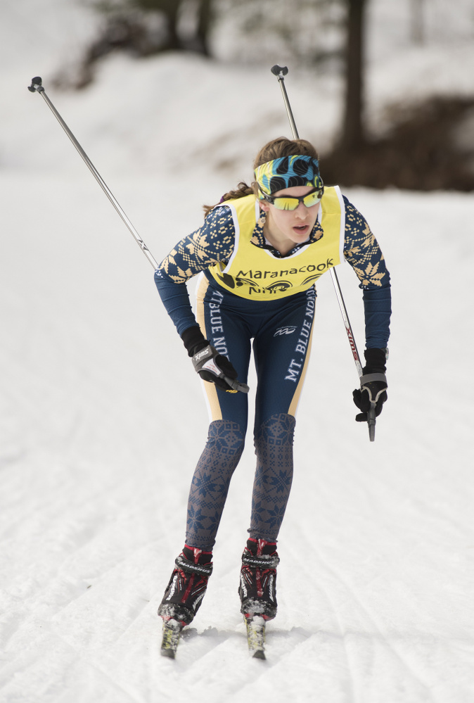 Mt. Blue's Julia Ramsey competes in the Maranacook Wave race on Jan. 21 in Readfield. Ramsey followed up her strong showing there with another one at the annual Sassi Memorial race this past Saturday.