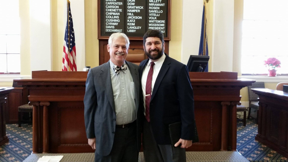 Sen. Thomas Saviello, left, with Tom Dubois of New Portland. Dubois served as Pastor of the Day Jan. 17 at the State House.