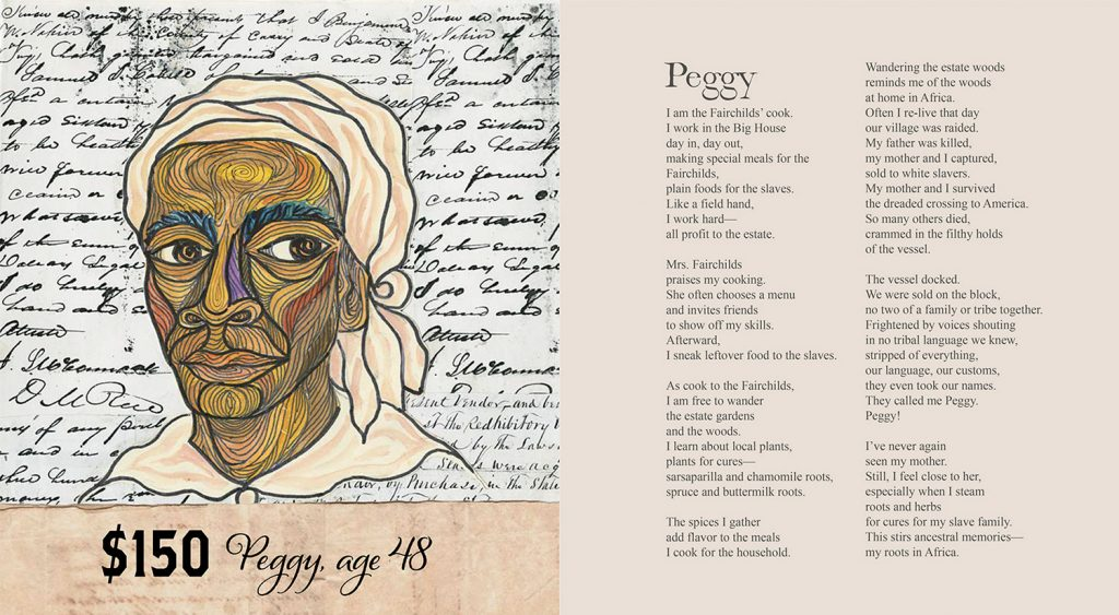 "Pages from Ashley Bryan's book ""Freedom Over Me"" depicting one of the slaves, Peggy."