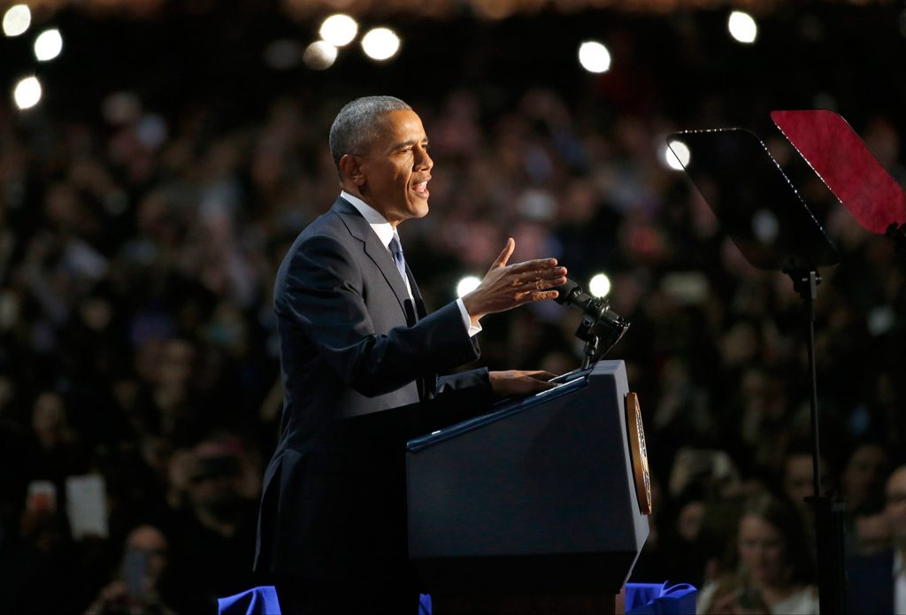 President Obama speaks to the crowd of thousands in his hometown of Chicago. Associated Press/Nam Y. Huh