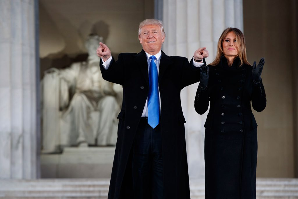 "Then President-elect Donald Trump and  wife Melania arrive at the ""Make America Great Again Welcome Concert"" at the Lincoln Memorial, on the eve of Trump's inauguration."