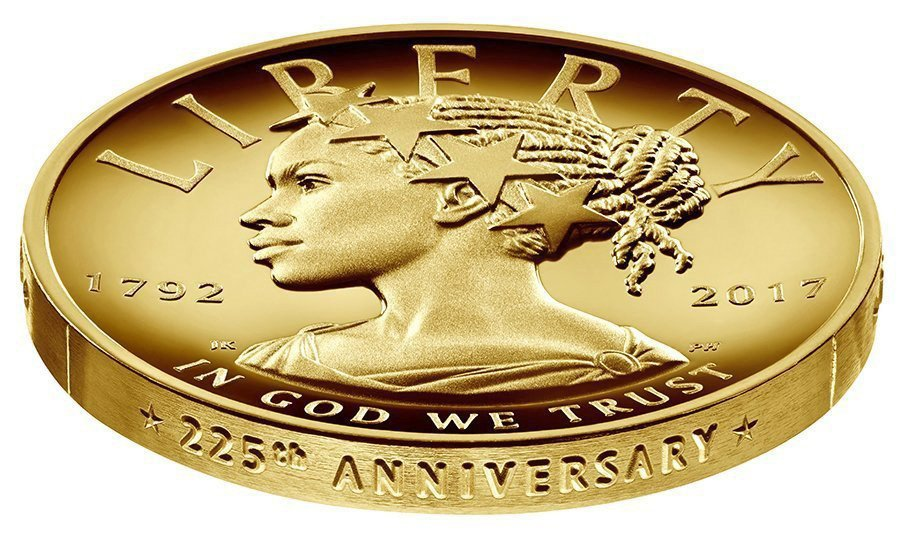 This undated handout image provided by the U.S. Mint shows the design for the 2017 American Liberty 225th Anniversary Gold Coin.