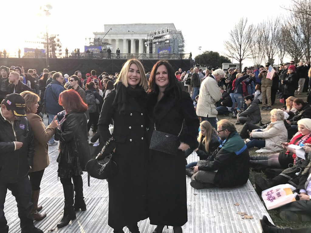Laura Zajac, right, and Julie Sheehan, both of Cape Elizabeth, pose for a photo in front of the Lincoln Memorial in Washington, D.C., on Thursday evening.