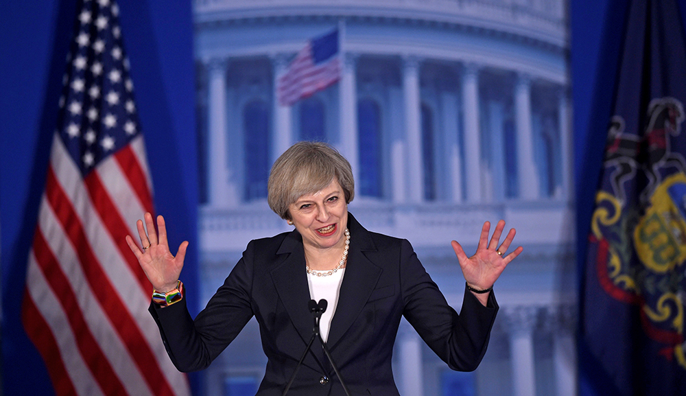 "Britain Prime Minister Theresa May arrives to speak at the ""Congress of Tomorrow"" Republican conference in Philadelphia Thursday. She has strong reasons for wanting her relationship with the Trump administration to work."