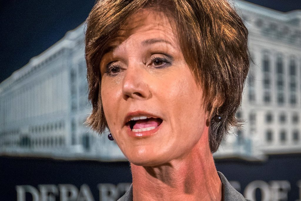 Sally Yates speaks at the Justice Department in Washington in June, when she was deputy attorney general. On Monday, President Trump fired Yates from her post as acting attorney general after she ordered Justice Department lawyers not to defend Trump's immigration ban.