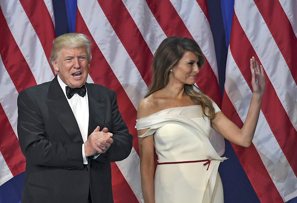 Melania Trump with her husband at the Salute to the Our Armed Services Ball on the night of his inauguration. Since becoming first lady, she has kept a low profile.