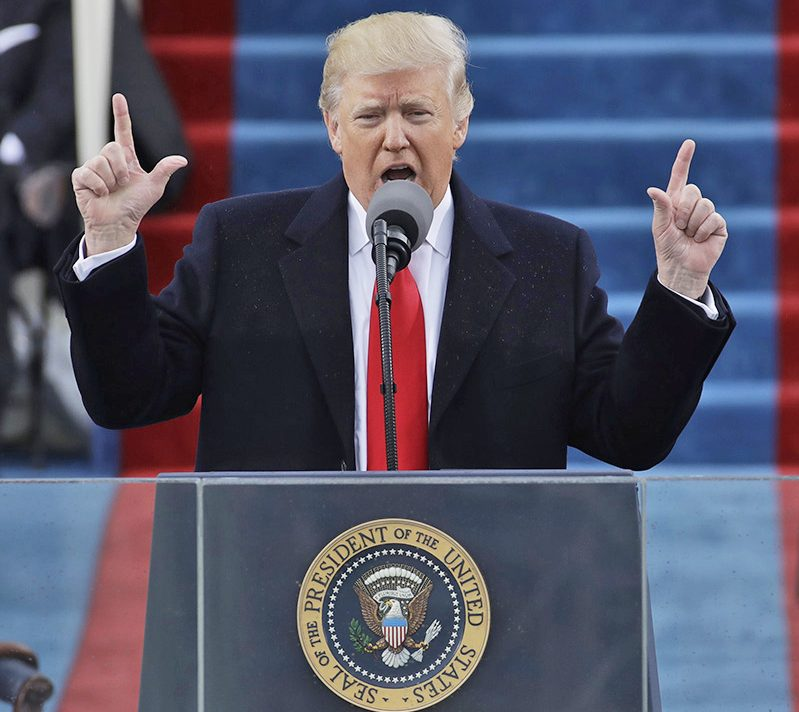 President Trump delivers his inaugural address after being sworn in on Jan. 20.
