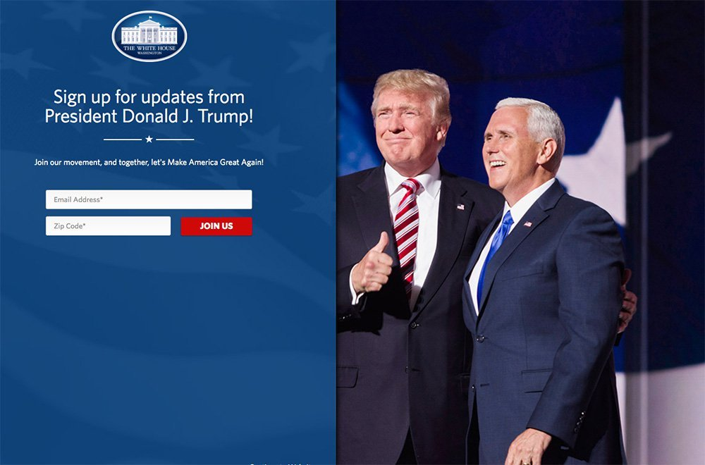 "Donald Trump's makeover of the White House website includes an opening page that invites visitors to ""join our movement"" and provide their email address."