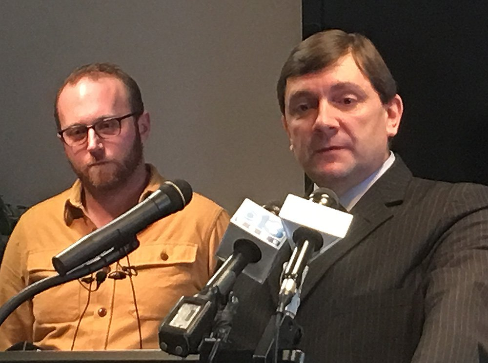 Andrew Volk, left, a Portland restaurateur and an advocate for affordable health care, joins Senate Minority Leader Troy Jackson, D-Allagash, at a news conference in Augusta Wednesday. <em>Scott Thistle/Staff Writer</em>