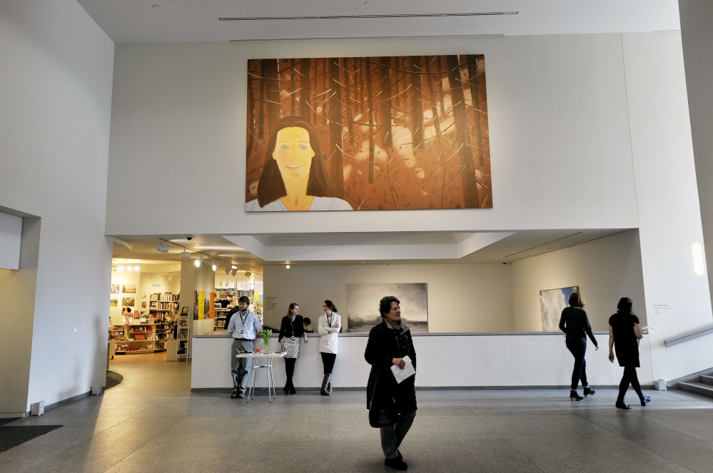 """Woman in the Woods"" by Alex Katz is now on display near the entrance at the Portland Museum of Art."
