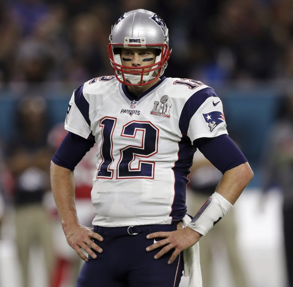 New England Patriots' Tom Brady stands on the field, during the first half of the NFL Super Bowl 51 football game against the Atlanta Falcons, Sunday, Feb. 5, 2017, in Houston. (AP Photo/Darron Cummings)