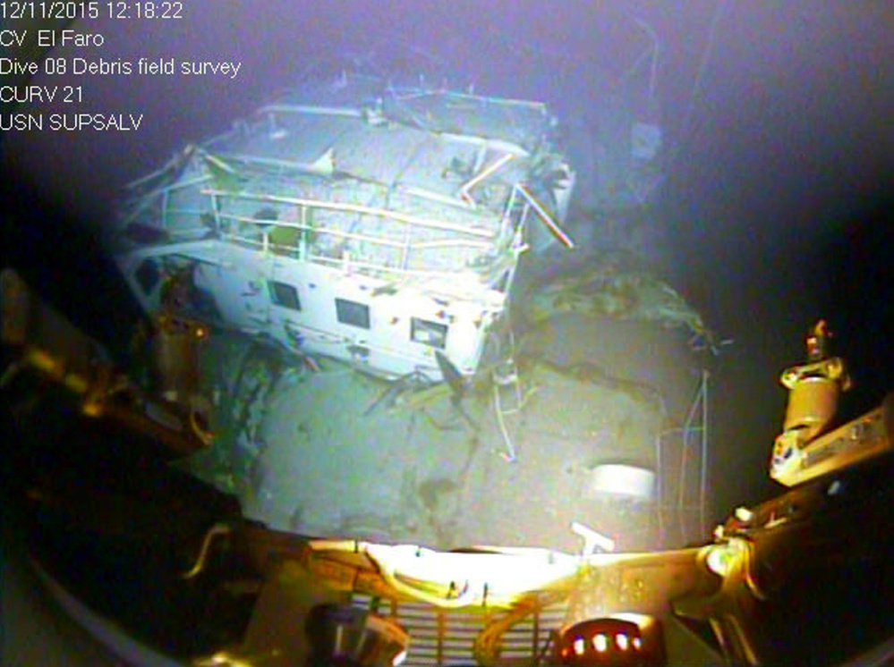 The bridge of the sunken El Faro is shown on the ocean floor, under 15,000 feet of water off the Bahamas.