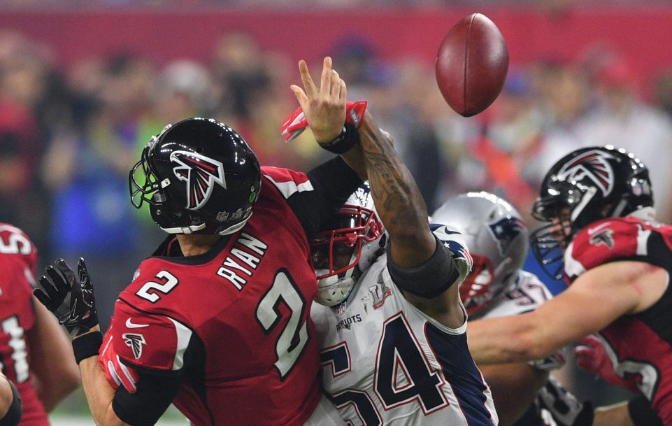 Patriots linebacker Dont'a Hightower came up with a big play when he forced Falcons QB Matt Ryan to fumble in the third quarter. Hightower is a free agent this offseason.