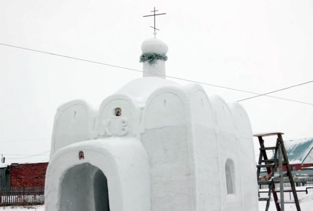 This chapel in Sosnovka, Russia, is made of snow. This image is taken from a video.