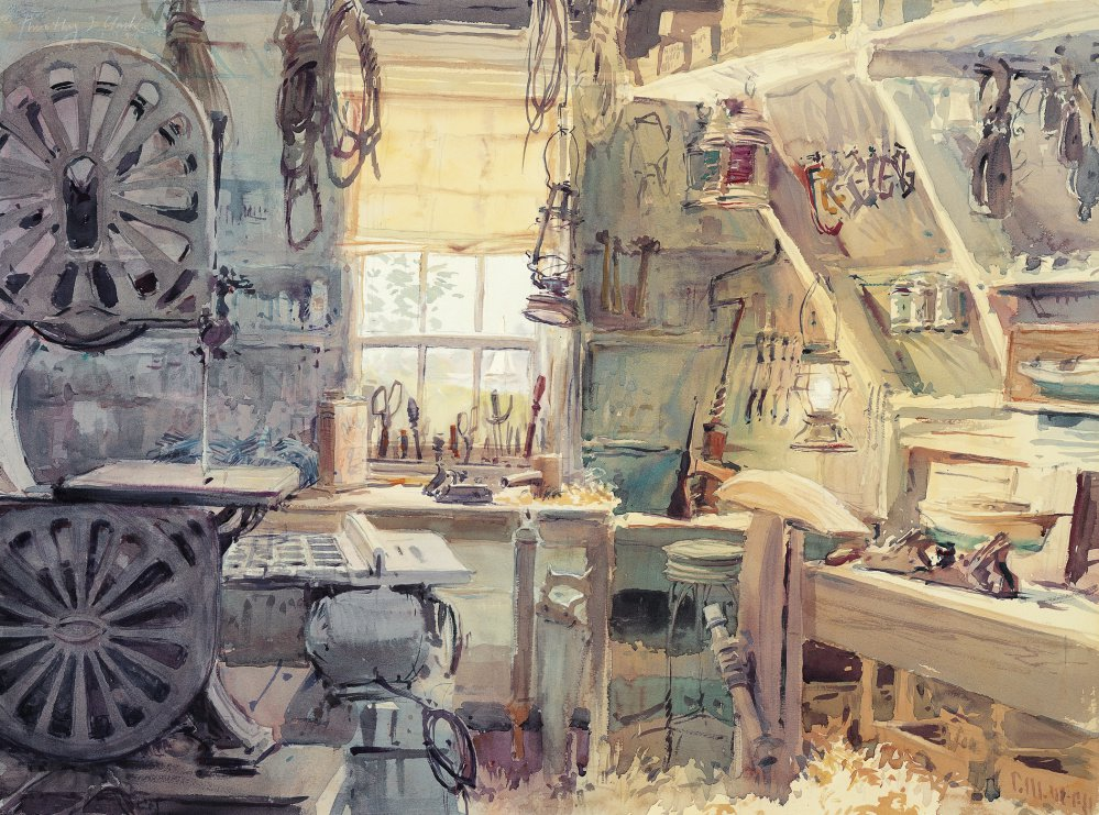 """The Maine Woodworking Shop of Raymond C. Small, 1998,"" watercolor by Timothy J. Clark, whose works are in the collection of the Smithsonian National Portrait Gallery in Washington, D.C."