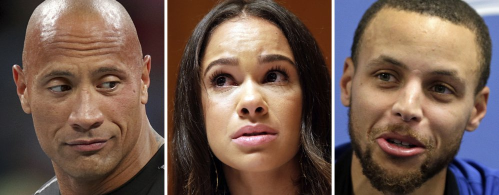 "Dwayne ""The Rock"" Johnson, left, professional ballerina Misty Copeland and NBA superstar Stephen Curry have joined in criticizing the CEO of sports apparel company Under Armour for praising President Trump."