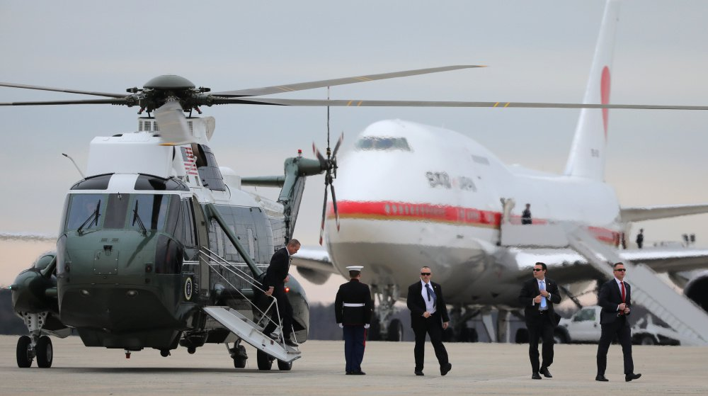 Secret service agents arrive at Joint Base Andrews prior the departure of Air Force One transporting Japanese Prime Minister Shinzo Abe, his wife Akie Abe, President Trump and First Lady Melania Trump to Palm Beach.