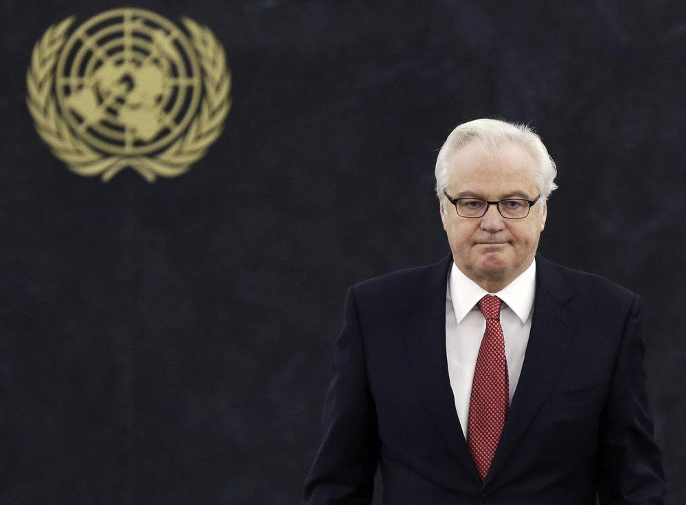 Vitaly Churkin, shown at the United Nations in 2014, died unexpectedly in New York City on Monday.