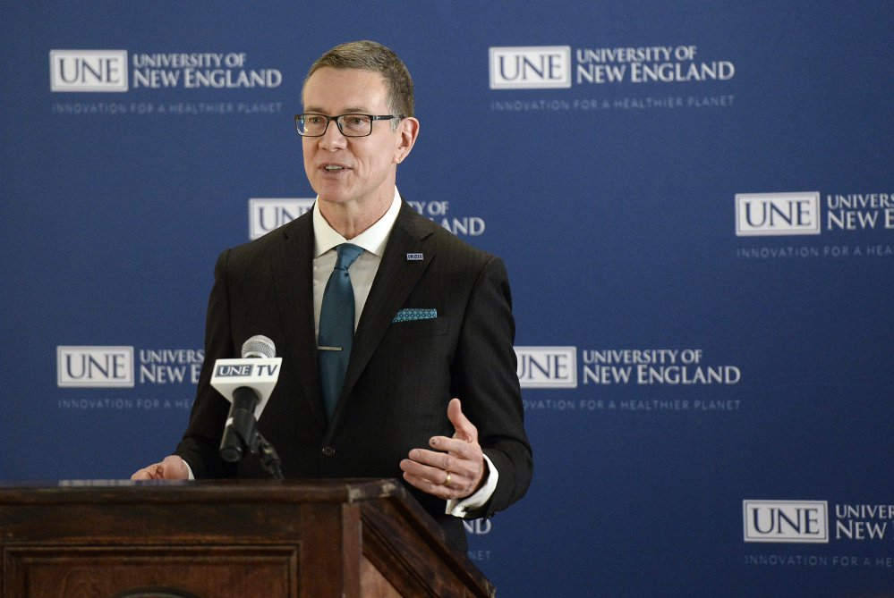 """""""As our economy evolves at an unprecedented rate, colleges and universities are subject to increasing competition for students and increasing price sensitivity,"""" said University of New England's next president, James Herbert, at a news conference in Portland on Tuesday."""