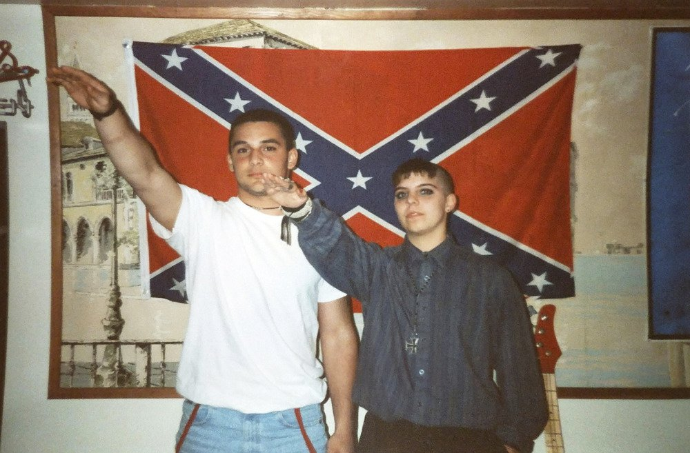 This undated photo shows Christian Picciolini, left, with Shannon Martinez when they were affiliated with racist skinhead organizations decades ago. He went on to begin Life After Hate, a nonprofit that works to get whites out of supremacist groups.