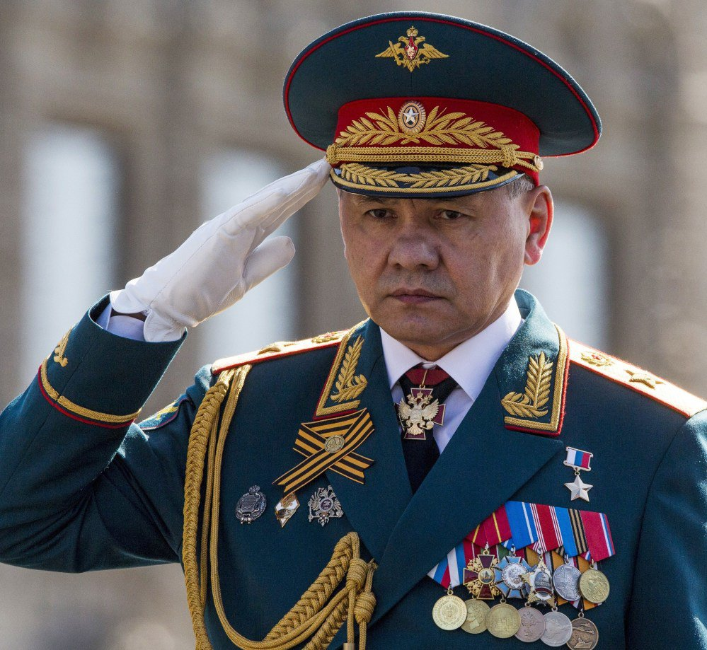 Russian Defense Minister Sergei Shoigu salutes his soldiers at Red Square.